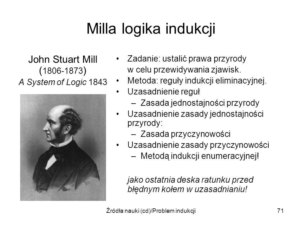 Źródła nauki (cd)/Problem indukcji71 Milla logika indukcji John Stuart Mill ( 1806-1873 ) A System of Logic 1843 Zadanie: ustalić prawa przyrody w cel