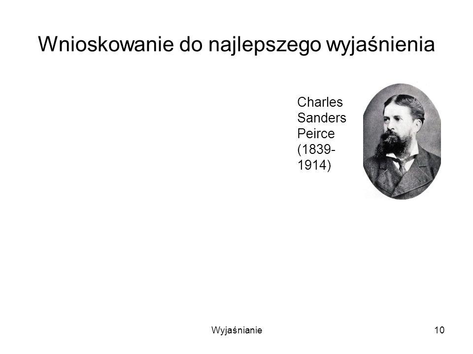 Wyjaśnianie10 Wnioskowanie do najlepszego wyjaśnienia Charles Sanders Peirce (1839- 1914)