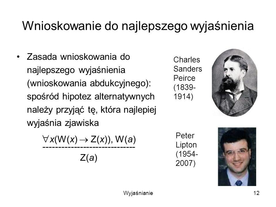 Wyjaśnianie12 Wnioskowanie do najlepszego wyjaśnienia Zasada wnioskowania do najlepszego wyjaśnienia (wnioskowania abdukcyjnego): spośród hipotez alternatywnych należy przyjąć tę, która najlepiej wyjaśnia zjawiska x(W(x) Z(x)), W(a) ------------------------------ Z(a) Charles Sanders Peirce (1839- 1914) Peter Lipton (1954- 2007)