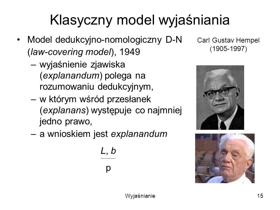 Wyjaśnianie15 Klasyczny model wyjaśniania Model dedukcyjno-nomologiczny D-N (law-covering model), 1949 –wyjaśnienie zjawiska (explanandum) polega na rozumowaniu dedukcyjnym, –w którym wśród przesłanek (explanans) występuje co najmniej jedno prawo, –a wnioskiem jest explanandum L, b ------------- p Carl Gustav Hempel (1905-1997)