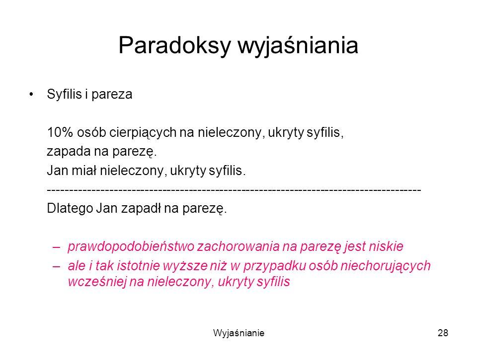 Wyjaśnianie28 Paradoksy wyjaśniania Syfilis i pareza 10% osób cierpiących na nieleczony, ukryty syfilis, zapada na parezę.
