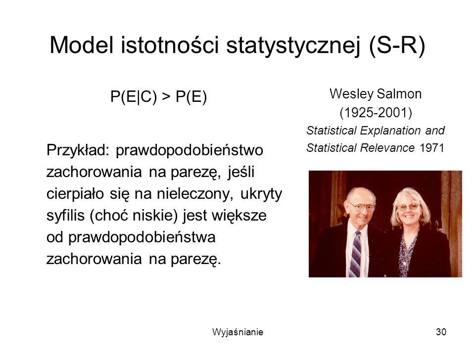 Wyjaśnianie30 Model istotności statystycznej (S-R) P(E|C) > P(E) Przykład: prawdopodobieństwo zachorowania na parezę, jeśli cierpiało się na nieleczony, ukryty syfilis (choć niskie) jest większe od prawdopodobieństwa zachorowania na parezę.