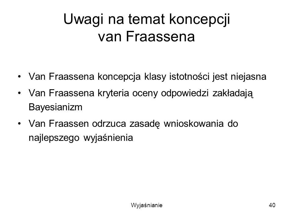 Wyjaśnianie40 Uwagi na temat koncepcji van Fraassena Van Fraassena koncepcja klasy istotności jest niejasna Van Fraassena kryteria oceny odpowiedzi zakładają Bayesianizm Van Fraassen odrzuca zasadę wnioskowania do najlepszego wyjaśnienia
