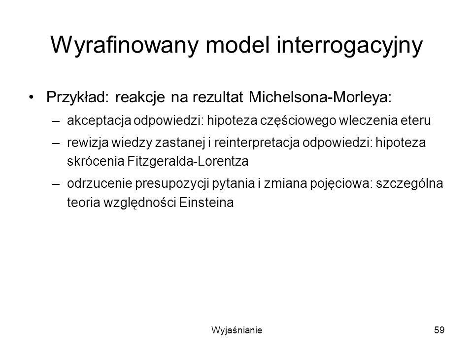 Wyjaśnianie59 Wyrafinowany model interrogacyjny Przykład: reakcje na rezultat Michelsona-Morleya: –akceptacja odpowiedzi: hipoteza częściowego wleczenia eteru –rewizja wiedzy zastanej i reinterpretacja odpowiedzi: hipoteza skrócenia Fitzgeralda-Lorentza –odrzucenie presupozycji pytania i zmiana pojęciowa: szczególna teoria względności Einsteina