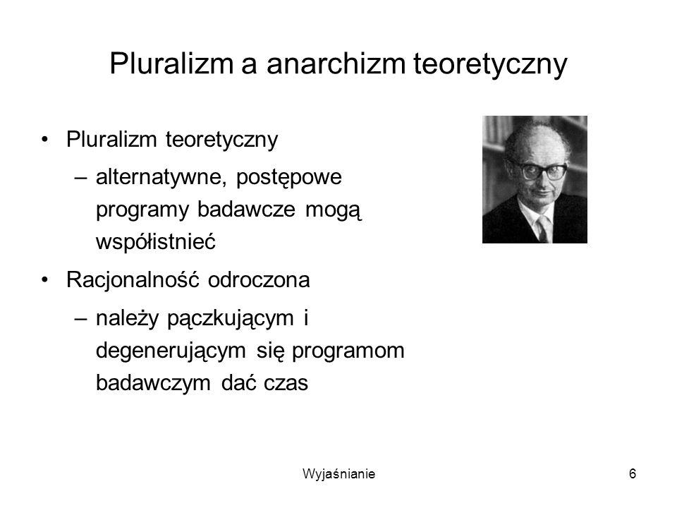 Wyjaśnianie6 Pluralizm a anarchizm teoretyczny Pluralizm teoretyczny –alternatywne, postępowe programy badawcze mogą współistnieć Racjonalność odroczona –należy pączkującym i degenerującym się programom badawczym dać czas