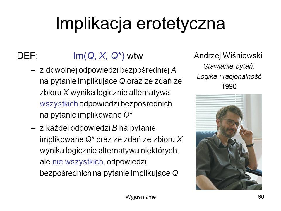 Wyjaśnianie60 Implikacja erotetyczna DEF:Im(Q, X, Q*) wtw –z dowolnej odpowiedzi bezpośredniej A na pytanie implikujące Q oraz ze zdań ze zbioru X wynika logicznie alternatywa wszystkich odpowiedzi bezpośrednich na pytanie implikowane Q* –z każdej odpowiedzi B na pytanie implikowane Q* oraz ze zdań ze zbioru X wynika logicznie alternatywa niektórych, ale nie wszystkich, odpowiedzi bezpośrednich na pytanie implikujące Q Andrzej Wiśniewski Stawianie pytań: Logika i racjonalność 1990