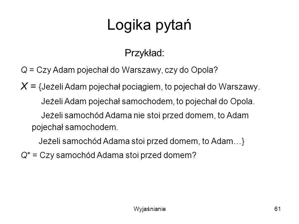 Wyjaśnianie61 Logika pytań Przykład: Q = Czy Adam pojechał do Warszawy, czy do Opola.