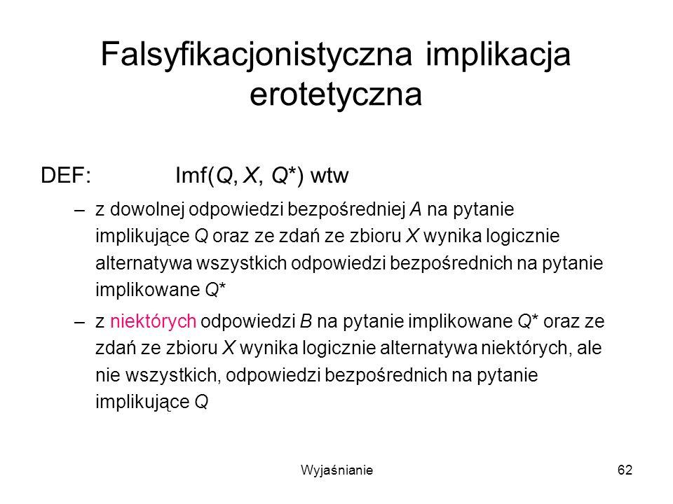Wyjaśnianie62 Falsyfikacjonistyczna implikacja erotetyczna DEF:Imf(Q, X, Q*) wtw –z dowolnej odpowiedzi bezpośredniej A na pytanie implikujące Q oraz ze zdań ze zbioru X wynika logicznie alternatywa wszystkich odpowiedzi bezpośrednich na pytanie implikowane Q* –z niektórych odpowiedzi B na pytanie implikowane Q* oraz ze zdań ze zbioru X wynika logicznie alternatywa niektórych, ale nie wszystkich, odpowiedzi bezpośrednich na pytanie implikujące Q