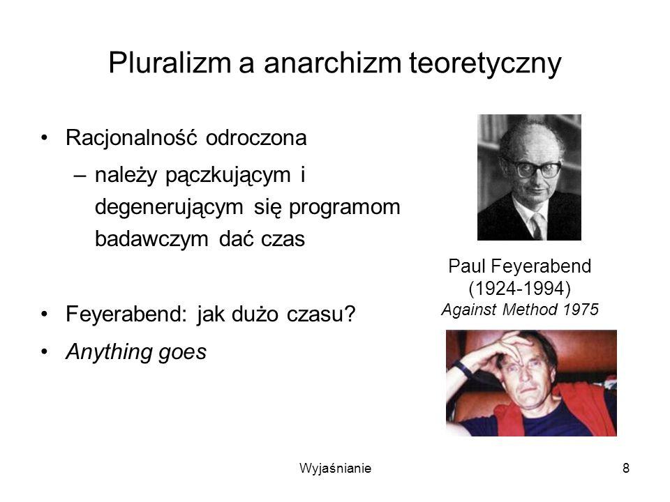 Wyjaśnianie79 Wyniki Wyjaśnienie oporu przed odrzuceniem sfalsyfikowanej hipotezy lub zmianą paradygmatu Wyjaśnienie, dlaczego pluralizm teoretyczny nie prowadzi do anarchizmu metodologicznego