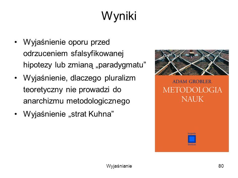 Wyjaśnianie80 Wyniki Wyjaśnienie oporu przed odrzuceniem sfalsyfikowanej hipotezy lub zmianą paradygmatu Wyjaśnienie, dlaczego pluralizm teoretyczny nie prowadzi do anarchizmu metodologicznego Wyjaśnienie strat Kuhna