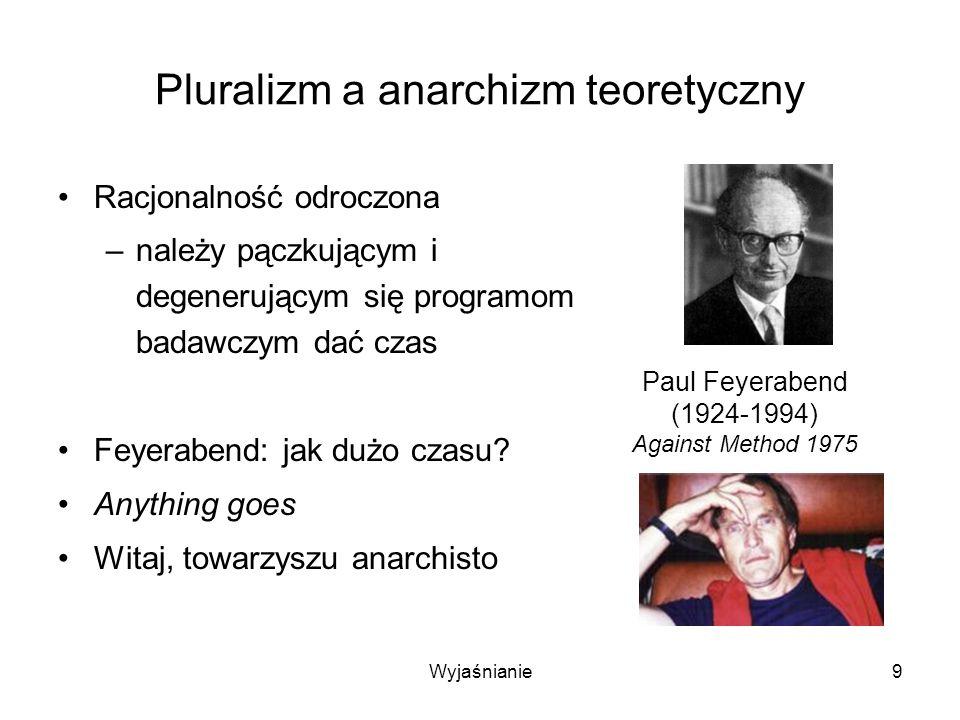 Wyjaśnianie9 Pluralizm a anarchizm teoretyczny Racjonalność odroczona –należy pączkującym i degenerującym się programom badawczym dać czas Feyerabend: jak dużo czasu.
