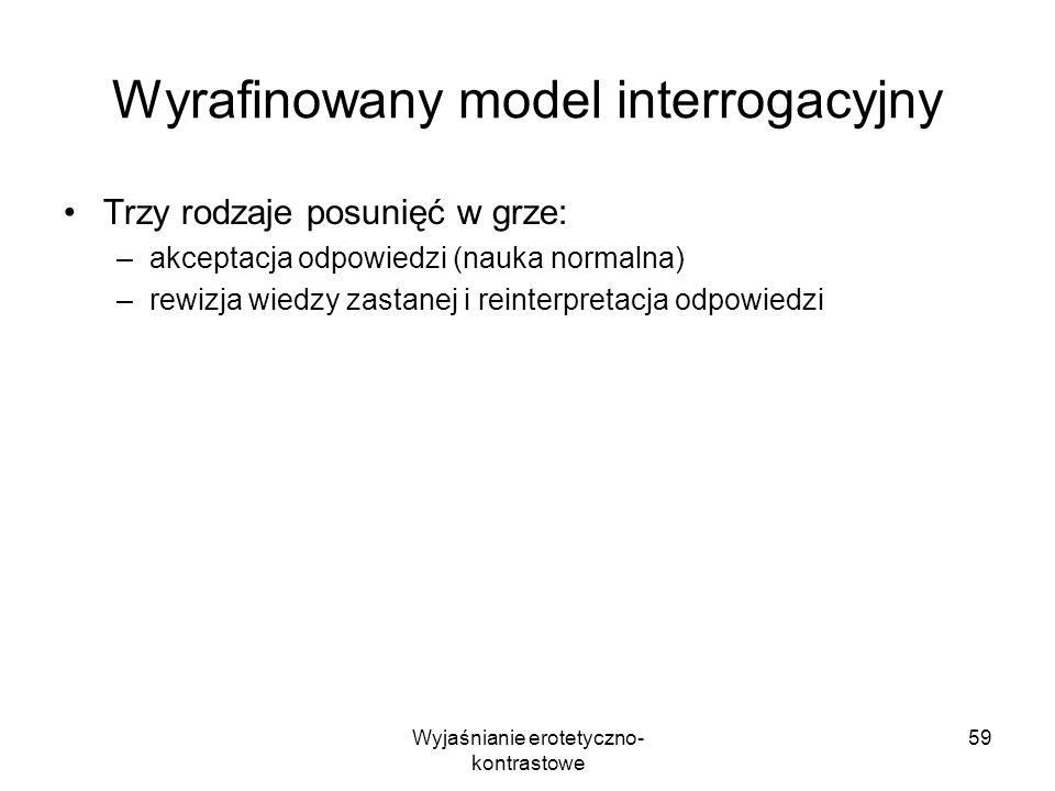 Wyjaśnianie erotetyczno- kontrastowe 59 Wyrafinowany model interrogacyjny Trzy rodzaje posunięć w grze: –akceptacja odpowiedzi (nauka normalna) –rewiz