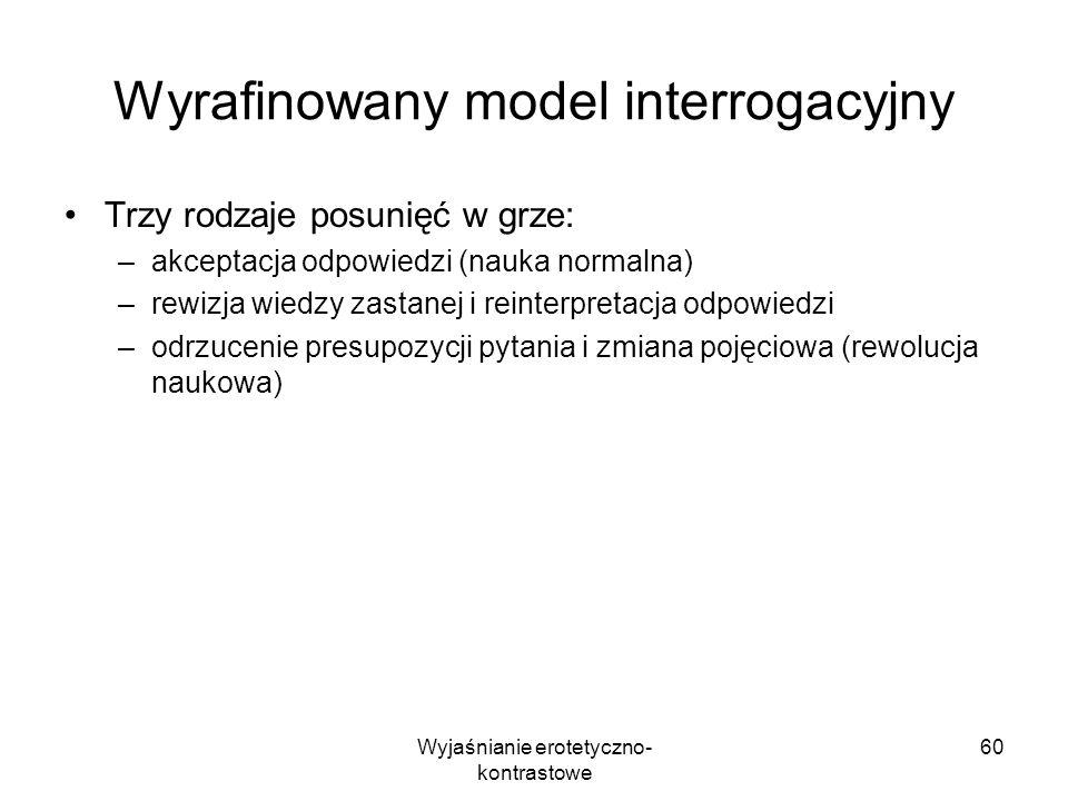 Wyjaśnianie erotetyczno- kontrastowe 60 Wyrafinowany model interrogacyjny Trzy rodzaje posunięć w grze: –akceptacja odpowiedzi (nauka normalna) –rewiz