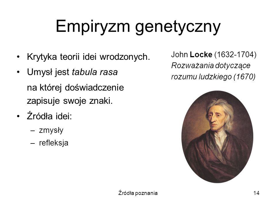 Źródła poznania14 Empiryzm genetyczny Krytyka teorii idei wrodzonych. Umysł jest tabula rasa na której doświadczenie zapisuje swoje znaki. Źródła idei