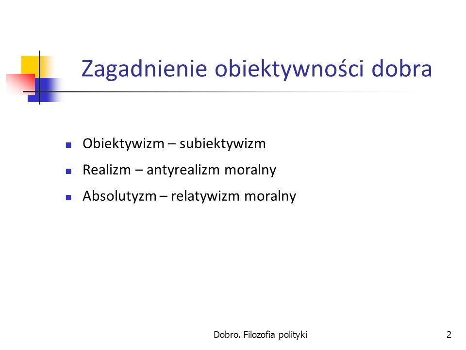 Dobro. Filozofia polityki2 Zagadnienie obiektywności dobra Obiektywizm – subiektywizm Realizm – antyrealizm moralny Absolutyzm – relatywizm moralny
