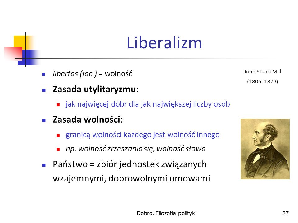 Dobro. Filozofia polityki27 Liberalizm libertas (łac.) = wolność Zasada utylitaryzmu: jak najwięcej dóbr dla jak największej liczby osób Zasada wolnoś