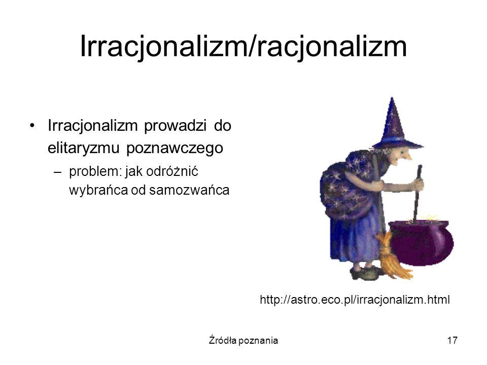 Źródła poznania17 Irracjonalizm/racjonalizm Irracjonalizm prowadzi do elitaryzmu poznawczego –problem: jak odróżnić wybrańca od samozwańca http://astr