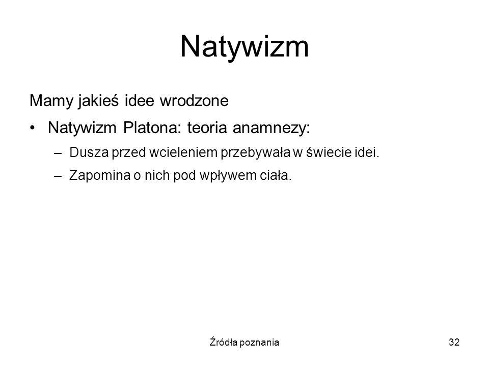 Źródła poznania32 Natywizm Mamy jakieś idee wrodzone Natywizm Platona: teoria anamnezy: –Dusza przed wcieleniem przebywała w świecie idei. –Zapomina o