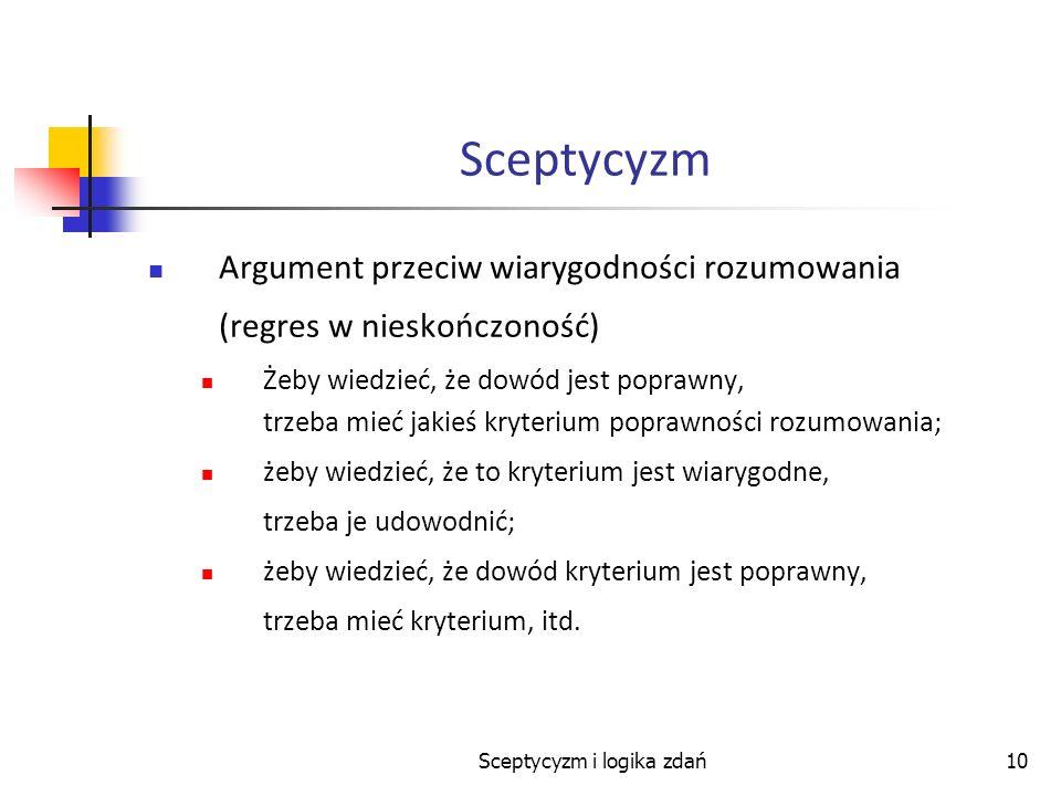 Sceptycyzm i logika zdań10 Sceptycyzm Argument przeciw wiarygodności rozumowania (regres w nieskończoność) Żeby wiedzieć, że dowód jest poprawny, trze