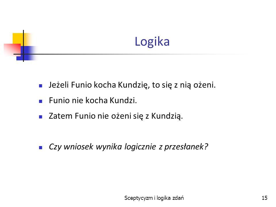 Sceptycyzm i logika zdań15 Logika Jeżeli Funio kocha Kundzię, to się z nią ożeni. Funio nie kocha Kundzi. Zatem Funio nie ożeni się z Kundzią. Czy wni