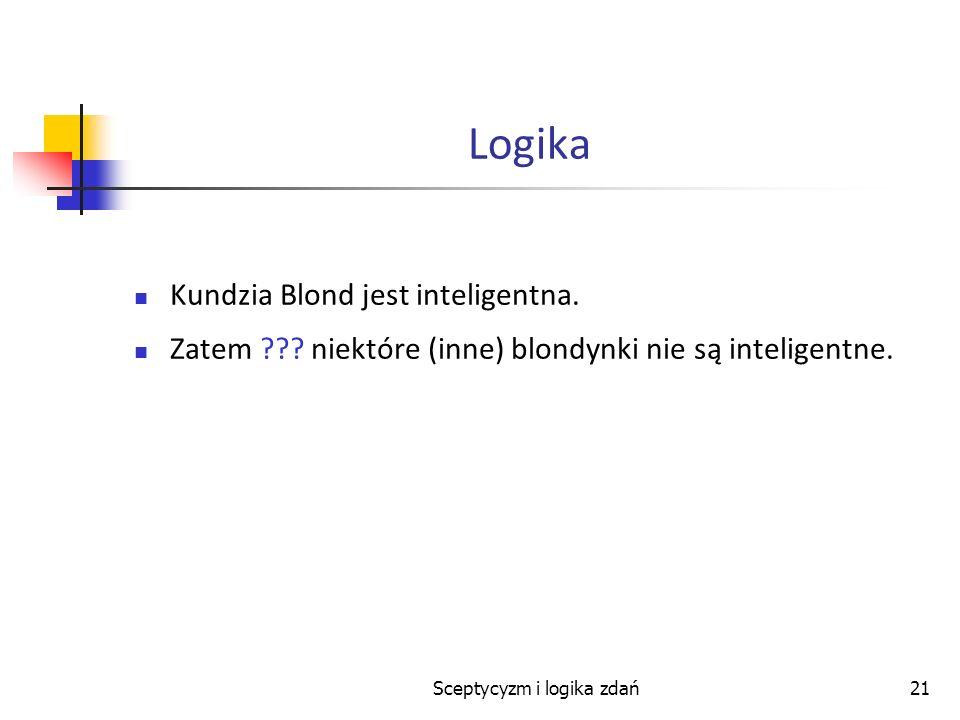 Sceptycyzm i logika zdań21 Logika Kundzia Blond jest inteligentna. Zatem ??? niektóre (inne) blondynki nie są inteligentne.