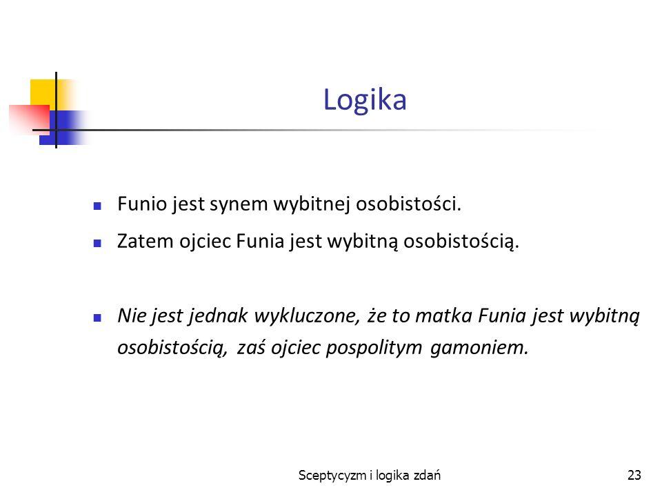 Sceptycyzm i logika zdań23 Logika Funio jest synem wybitnej osobistości. Zatem ojciec Funia jest wybitną osobistością. Nie jest jednak wykluczone, że