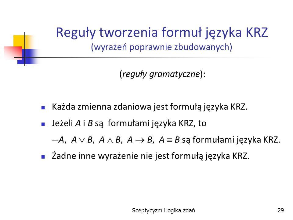 Sceptycyzm i logika zdań29 Reguły tworzenia formuł języka KRZ (wyrażeń poprawnie zbudowanych) (reguły gramatyczne): Każda zmienna zdaniowa jest formuł