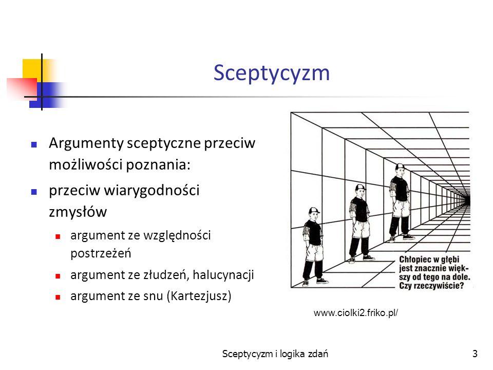 Sceptycyzm i logika zdań3 Sceptycyzm Argumenty sceptyczne przeciw możliwości poznania: przeciw wiarygodności zmysłów argument ze względności postrzeże
