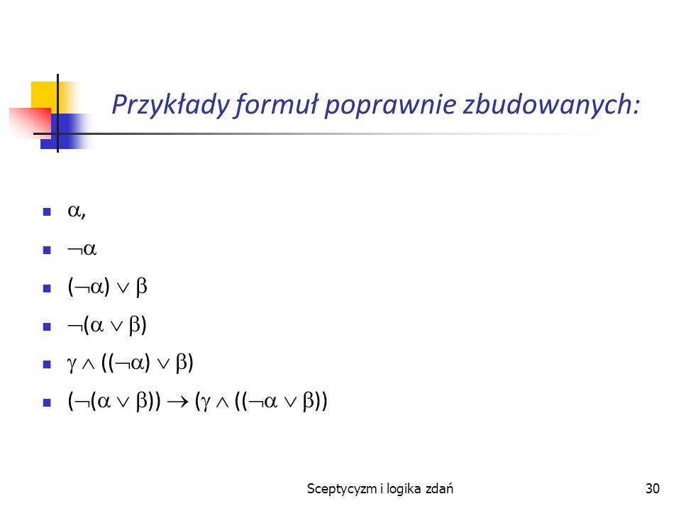 Sceptycyzm i logika zdań30 Przykłady formuł poprawnie zbudowanych:, ( ) (( ) ) ( ( )) ( (( ))