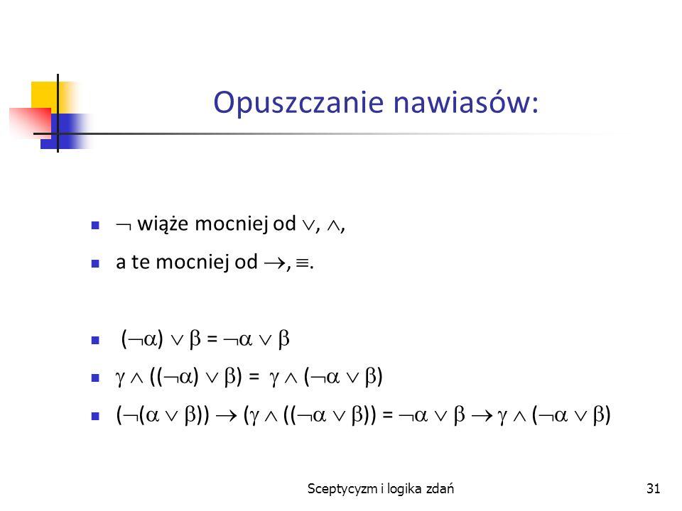 Sceptycyzm i logika zdań31 Opuszczanie nawiasów: wiąże mocniej od,, a te mocniej od,. ( ) = (( ) ) = ( ) ( ( )) ( (( )) = ( )