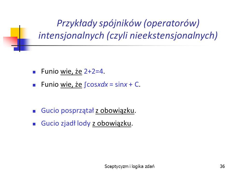 Sceptycyzm i logika zdań36 Przykłady spójników (operatorów) intensjonalnych (czyli nieekstensjonalnych) Funio wie, że 2+2=4. Funio wie, że cosxdx = si