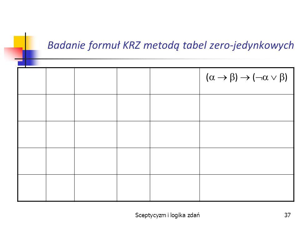 Sceptycyzm i logika zdań37 Badanie formuł KRZ metodą tabel zero-jedynkowych ( )