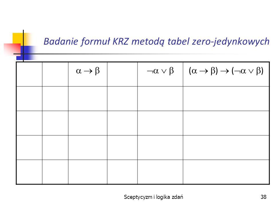 Sceptycyzm i logika zdań38 Badanie formuł KRZ metodą tabel zero-jedynkowych ( )