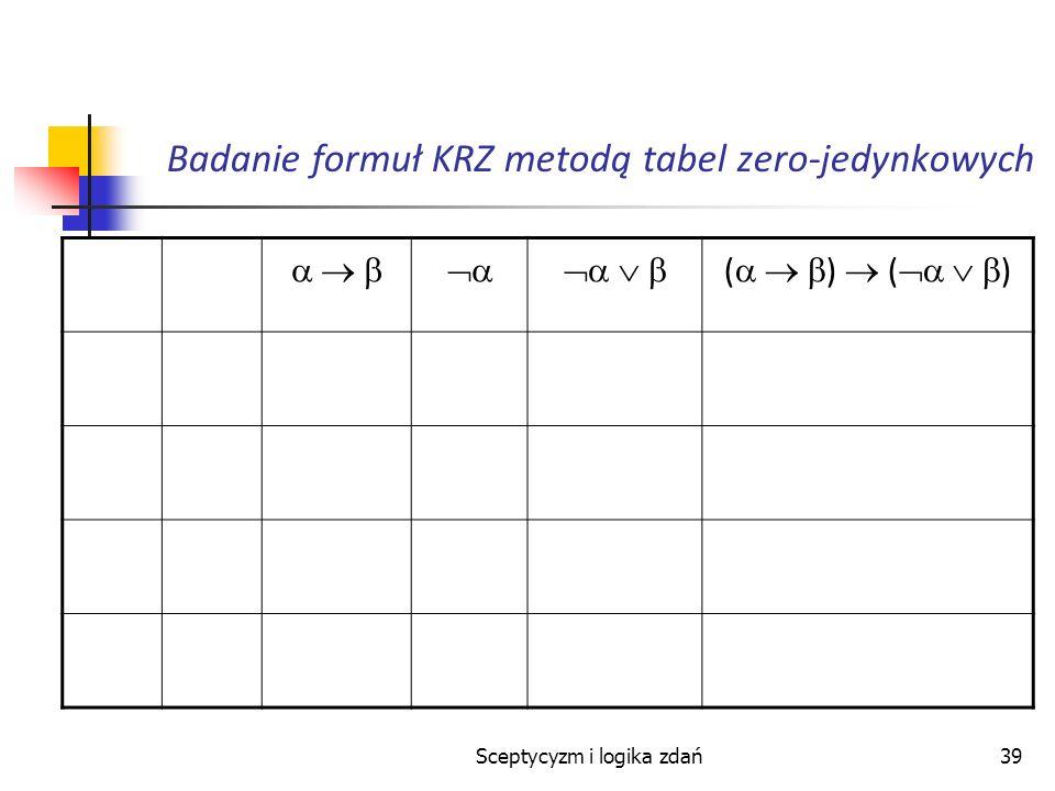 Sceptycyzm i logika zdań39 Badanie formuł KRZ metodą tabel zero-jedynkowych ( )