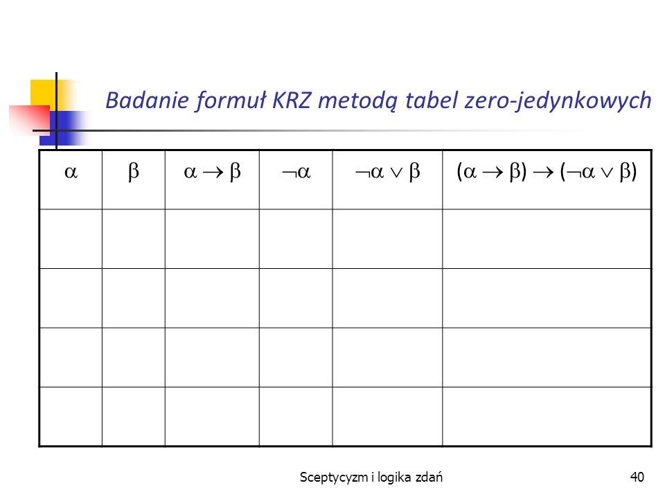 Sceptycyzm i logika zdań40 Badanie formuł KRZ metodą tabel zero-jedynkowych ( )