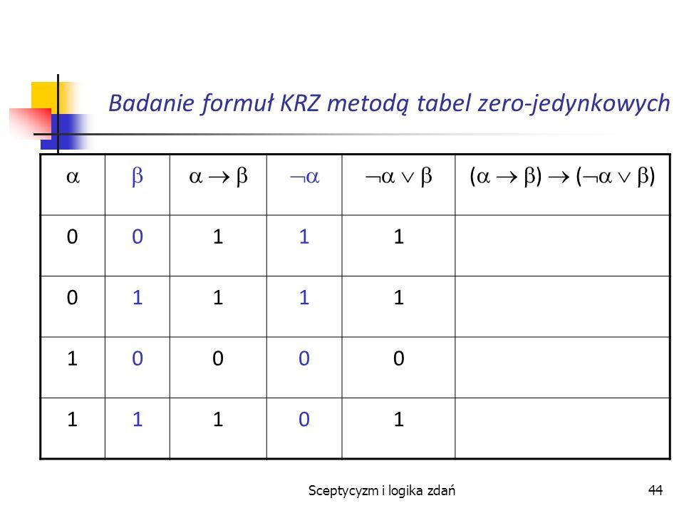 Sceptycyzm i logika zdań44 Badanie formuł KRZ metodą tabel zero-jedynkowych ( ) 00111 01111 10000 11101