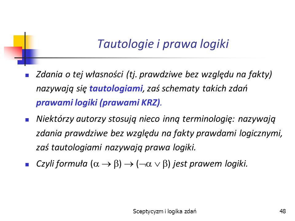 Sceptycyzm i logika zdań48 Tautologie i prawa logiki Zdania o tej własności (tj. prawdziwe bez względu na fakty) nazywają się tautologiami, zaś schema