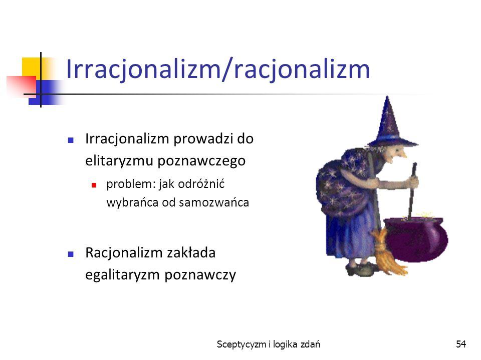 Sceptycyzm i logika zdań54 Irracjonalizm/racjonalizm Irracjonalizm prowadzi do elitaryzmu poznawczego problem: jak odróżnić wybrańca od samozwańca Rac