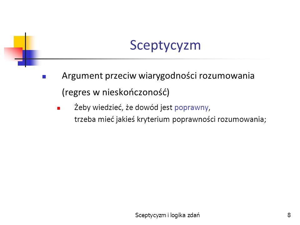 Sceptycyzm i logika zdań8 Sceptycyzm Argument przeciw wiarygodności rozumowania (regres w nieskończoność) Żeby wiedzieć, że dowód jest poprawny, trzeb