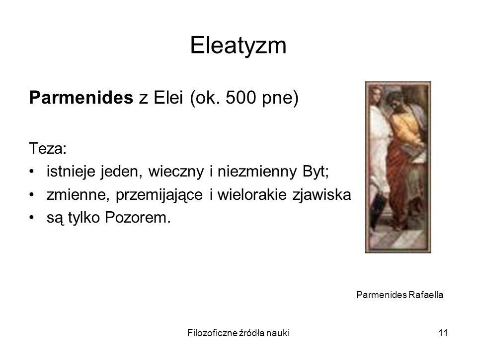 Filozoficzne źródła nauki11 Eleatyzm Parmenides z Elei (ok. 500 pne) Teza: istnieje jeden, wieczny i niezmienny Byt; zmienne, przemijające i wieloraki