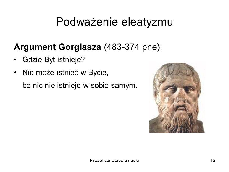 Filozoficzne źródła nauki15 Podważenie eleatyzmu Argument Gorgiasza (483-374 pne): Gdzie Byt istnieje? Nie może istnieć w Bycie, bo nic nie istnieje w