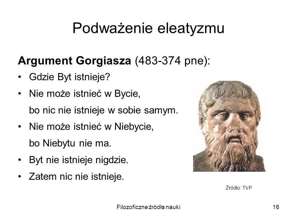 Filozoficzne źródła nauki16 Podważenie eleatyzmu Argument Gorgiasza (483-374 pne): Gdzie Byt istnieje? Nie może istnieć w Bycie, bo nic nie istnieje w