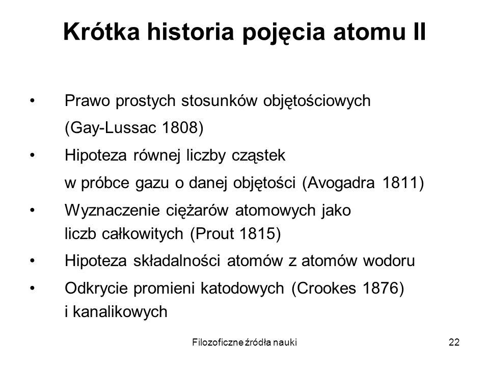 Filozoficzne źródła nauki22 Krótka historia pojęcia atomu II Prawo prostych stosunków objętościowych (Gay-Lussac 1808) Hipoteza równej liczby cząstek