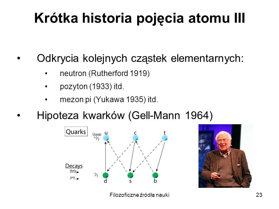 Filozoficzne źródła nauki23 Krótka historia pojęcia atomu III Odkrycia kolejnych cząstek elementarnych: neutron (Rutherford 1919) pozyton (1933) itd.