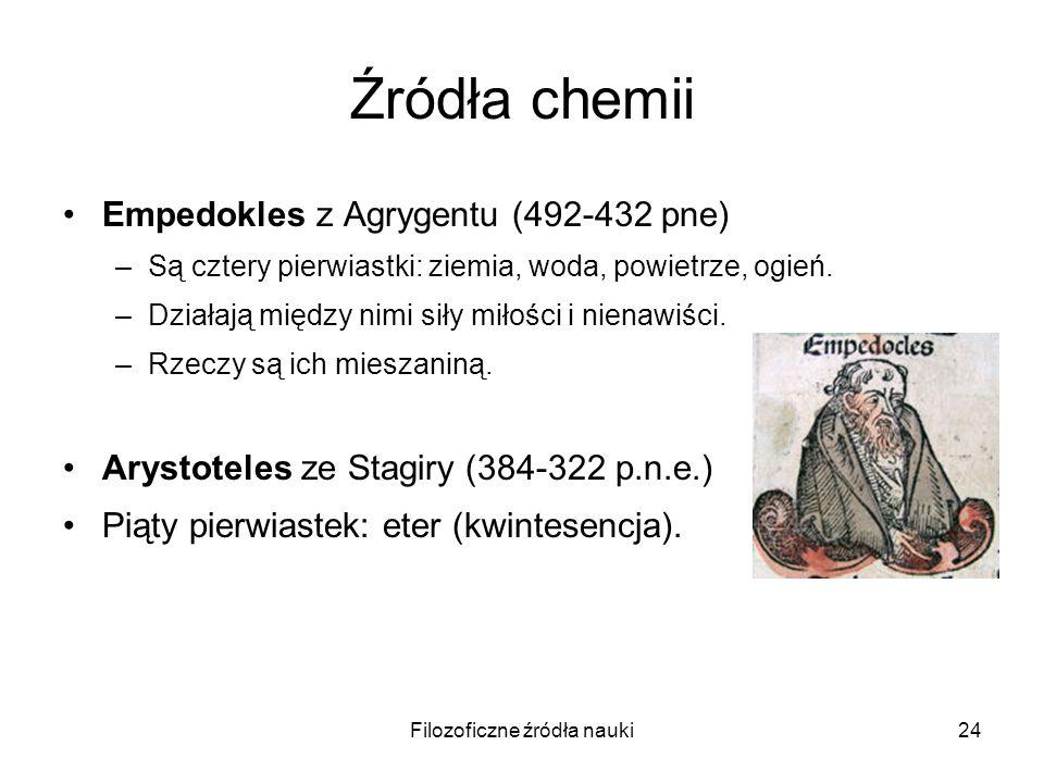 Filozoficzne źródła nauki24 Źródła chemii Empedokles z Agrygentu (492-432 pne) –Są cztery pierwiastki: ziemia, woda, powietrze, ogień. –Działają międz