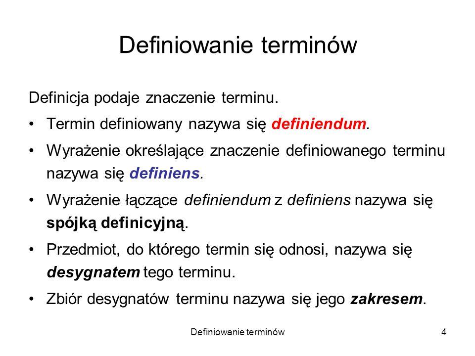 Definiowanie terminów5 Definicja powinna określać znaczenie terminu w taki sposób, aby jednoznacznie wyznaczała jego zakres.