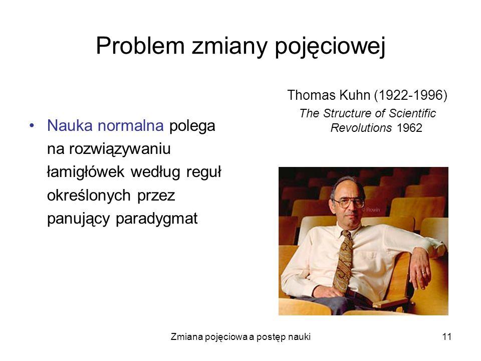 Zmiana pojęciowa a postęp nauki11 Problem zmiany pojęciowej Nauka normalna polega na rozwiązywaniu łamigłówek według reguł określonych przez panujący
