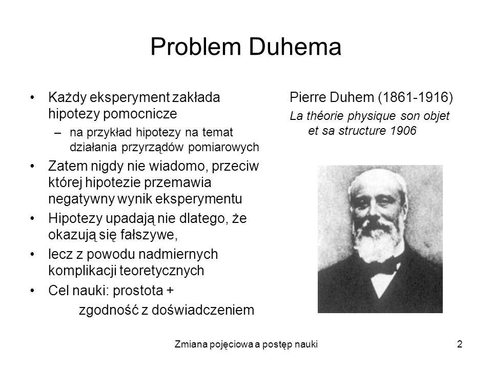 2 Problem Duhema Każdy eksperyment zakłada hipotezy pomocnicze –na przykład hipotezy na temat działania przyrządów pomiarowych Zatem nigdy nie wiadomo