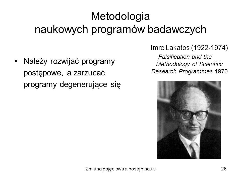 Zmiana pojęciowa a postęp nauki26 Metodologia naukowych programów badawczych Należy rozwijać programy postępowe, a zarzucać programy degenerujące się