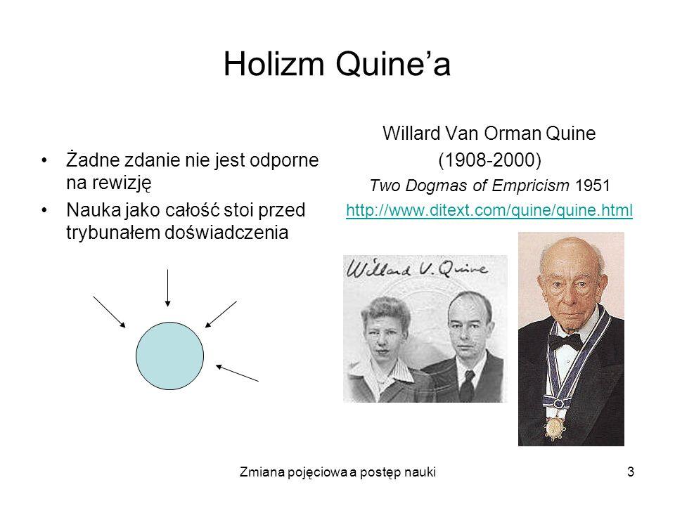 Zmiana pojęciowa a postęp nauki3 Holizm Quinea Żadne zdanie nie jest odporne na rewizję Nauka jako całość stoi przed trybunałem doświadczenia Willard
